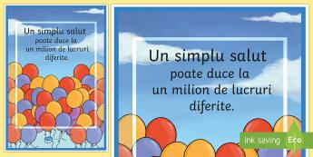 Un simplu salut - Planșă motivațională - A Simple Hello Motivational Poster - motivational, poster, hello,Romanian