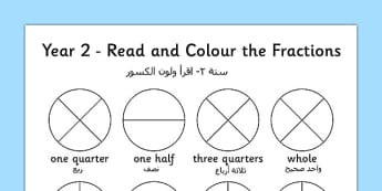 Year 2 Read and Colour a Fraction Arabic Translation - arabic, fractions, colours, reading