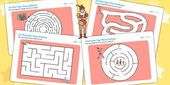The Pied Piper Differentiated Maze Activity Sheet Pack - mazes, game, worksheet
