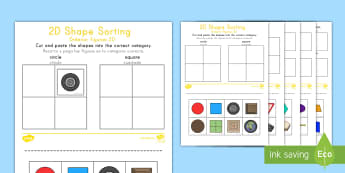 2D Shape Sorting Activity Sheet US English/South American Spanish - 2D Shape Sorting Activity Sheet - 2D, shapes, 2D shape, 2D shapes, shape sorting, ks1 shape, eyfs sh