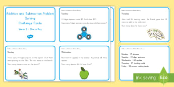 Weekly Addition and Subtraction (3) Challenge Cards - Common Core Math, word problems, problem solving, operations and algebraic thinking