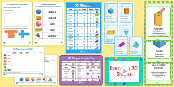 3D Shapes KS1 - 3D shapes KS1, 3d, shapes, ks1, pack, shape