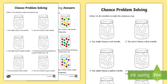 Year 1 Chance Problem Solving Activity Sheet - Australian Curriculum Statistics and Probability, Year 1, chance, ACMSP024, worksheet, maths, marble