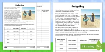 Budgeting for a Summer Holiday Money Activity Sheet - Maths, year 5, money, budgeting, addition, subtraction, decimal numbers, budget, calculation,Austral