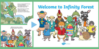 Welcome to Infinity Forest PowerPoint - Children's Maths Stories, Infinity Forest, Elvis the Dragon, Read and write numbers from 1 to 20 in