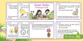 KS1 Easter Differentiated Maths Challenge Cards - KS1 & 2 Easter 2017 (16th April)