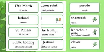 St Patrick's Day Topic Word Cards Romanian Translation - romanian, Word cards, St Patricks Day, Word Card, flashcard, flashcards, Ireland, Irish, St Patrick, patron saint, leprechaun, 17 march