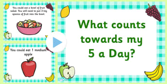 EYFS What Counts Towards My 5 a Day PowerPoint - healthy eating