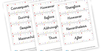 connectives - KS2 Words and Vocabulary Connectives Primary Resources - Words