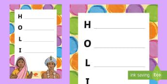 Holi Themed Acrostic Poem - holi, hinduism, hindus, acrostic poems, holi acrostic, re, re poems