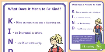 Kind Display Poster - Kindness, friendship, relationships, caring, poster, display