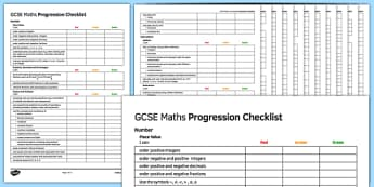 GCSE Maths Low Ability Progression Checklist - KS4, Maths, GCSE, Assessment, Objectives, Progression, new curriculum, SEN, low ability,