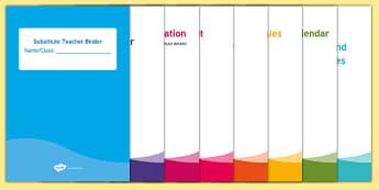 Substitute Teacher Editable Binder Divider Covers