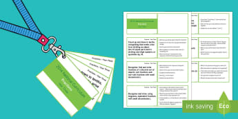 Lanyard Sized Year Three Fractions Objectives Cards - year 3, y3, year three, maths, fractions, National Curriculum objectives, equivalent fractions, equa