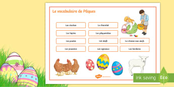 Easter Word Mat French - KS3, French, Easter, Pâques, word mat, vocabulary, writing, actvities, egg, chocolate, oeuf, chocol
