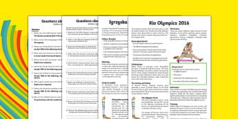 KS2 Rio 2016 Olympic Games Differentiated Reading Comprehension Activity Polish Translation - polish, Olympics, Rio, reading, comprehension, KS2, Y3, Y4, Y5, Y6, Rio 2016, sport, event