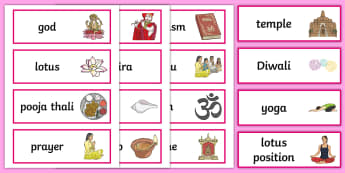 Hinduism Word Cards - Religion, faith, word cards, flashcards, hindu, temple, RE