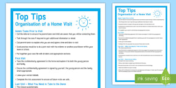 Top Tips for Home Visit Administration Young People & Families Case File Recording Template  - Young People & Families Case File Recording, referral, chronology, contents page,buddy system, safeg