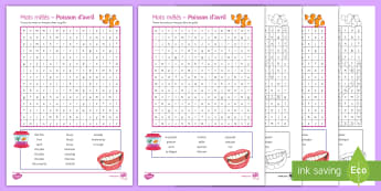 April Fools' Differentiated Word Search French - Poisson d'avril, April Fools Day, April Fool's Day, 1st April, 1er avril, premier avril, joke, bla