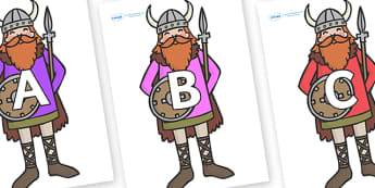 A-Z Alphabet on Vikings - A-Z, A4, display, Alphabet frieze, Display letters, Letter posters, A-Z letters, Alphabet flashcards