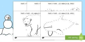 Punto a punto: Los animales del ártico - ficha, ártico, animales, punto a punto, motricidad, fina, números, dibujos, colorear,Spanish