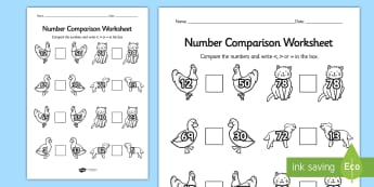 The Little Red Hen Number Comparison Worksheets - comparison