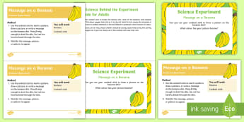 EYFS Message on a Banana Science Experiment and Prompt Card Pack - food, monkey, jungle, banana, platain, oxidise, Oxidization,