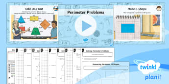 PlanIt Y3 Measurement Lesson Pack Perimeter (2) - measurement, perimeter, shape, polygons, measure the perimeter of simple 2D shapes, maths, Y3, KS2,