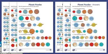 Planet Maths Puzzles Differentiated Activity Sheets - Back to Earth with a Bump, space, planets, night and day, dark, sun, Mars, moon, stories, picture bo