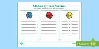 Addition with Three Dice Activity Mat - NI KS1 Numeracy, addition, three numbers, practical maths, structured play