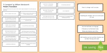 'Translation' Activity Sheet to Support Teaching on 'A Complaint' by William Wordsworth (LA) - GCSE Poetry, William Wordsworth, A Complaint, The Romantics, Coleridge, structure and form, language