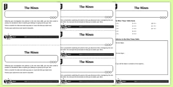 The Nine Times Table Activity Sheets - Y4 Multiplication and Division Planit Maths, multiply, groups of, lots of, product, times, sets of,