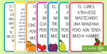 Póster DIN A4 de la comida diaria para ayudar en la enseñanza de: La pequeña orugo glotona - lecto, leer, literatura infantil, cuentos, cuento, crecimiento, ciclo de vida, ciclo vital, bichos,  - lecto, leer, literatura infantil, cuentos, cuento, cre