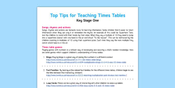 KS1 Teaching Times Tables Top Tips - KS1, times tables, multiply, multiplication, lots of, groups, how many, find, inverse, divide, divis