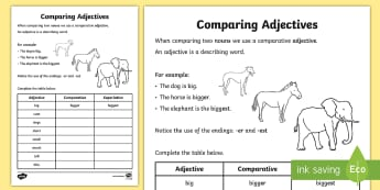 Comparative Adjectives Worksheet - adjectives worksheets, comparative adjectives, comparing adjectives, comparatives worksheet, comparative suffixes, ks2