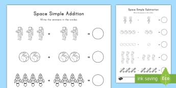 Space Simple Addition and Subtraction Activity Sheets - addition, adding, subtraction, space, outer space, planets, solar system, worksheets, space math, pr