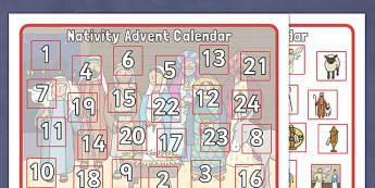 Nativity Advent Calendar Activity - Christmas, xmas, Advent calendar, activity, tree, advent, nativity, , Mary, Joseph, Jesus, shepherd, wise men, Herod, angel, donkey, stable, Gabriel, First Christmas,Inn, Star, God