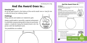 And the Award Goes To... Activity Sheet - Amazing Fact Of The Day, activity sheets, powerpoint, starter, worksheet, morning activity, June, KS