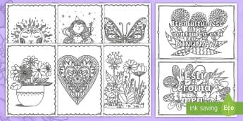 Ziua Mamei - Pagini de colorat mindfulness - ziua mamei, română, materiale, pagini de colort, mindfulness, fișe de colorat, materiale, activit
