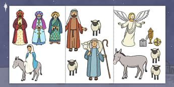 Cut Out Nativity Scene - Nativity, Christmas Story, xmas, Visual Aids, Mary, Joseph, Jesus, shepherd, wise men, Herod, angel, donkey, stable, Gabriel, First Christmas,Inn, Star, God