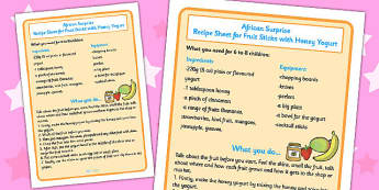 African Surprise Fruit Sticks with Yoghurt Recipe Sheet - sheets