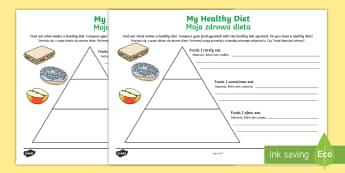 Healthy Eating Food Pyramid Writing Activity English/Polish - Healthy Eating Food Pyramid Writing Activity - healthy eating, healthy eating food pyramid, healthy