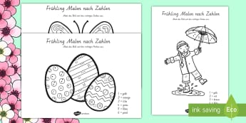 Frühlingsbilder Malen nach Zahlen - Frühling, Malen, Malen nach Zahlen, Schmetterling, Ostern, Osterei, spring, colouring, butterfly, E