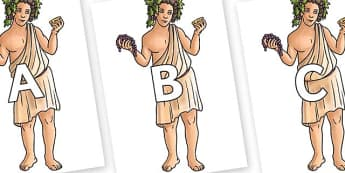 A-Z Alphabet on Dionysus - A-Z, A4, display, Alphabet frieze, Display letters, Letter posters, A-Z letters, Alphabet flashcards