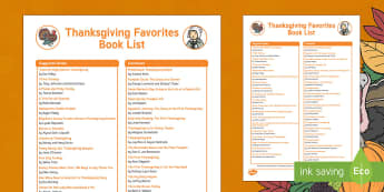 Thanksgiving Favorites Book List