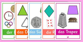 2D Shape Posters with Everyday Examples German - german, 2d shape, posters, display, 2d, shape