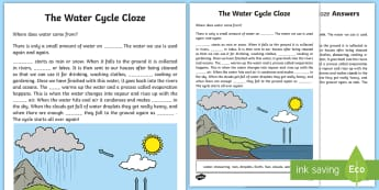 Water in Our World Cloze Activity Sheet - Science Water Resources, water, conservation, science, water usage, reading, worksheet, reading comp
