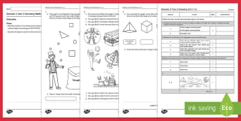 Semester 2 Year 2 Geometry Maths Test - Australia Maths, geometry, 2D, 3D,  shapes, two dimensional, three dimensional, Year 2, test, assess