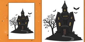 Editable Halloween Haunted House (A4) - Editable Halloween Haunted House, haunted house, A4, display, poster, Halloween, pumpkin, witch, bat, scary, black cat, mummy, grave stone, cauldron, broomstick, haunted house, potion, Hallowe'en