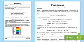 Mnemonic Information Sheet with Activity - CfE Literacy, mnemonics, mnemonic, spelling, strategies, memory tool,Scottish